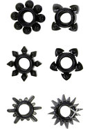 Tower Of Power Cock Rings (6 Piece Kit) - Black