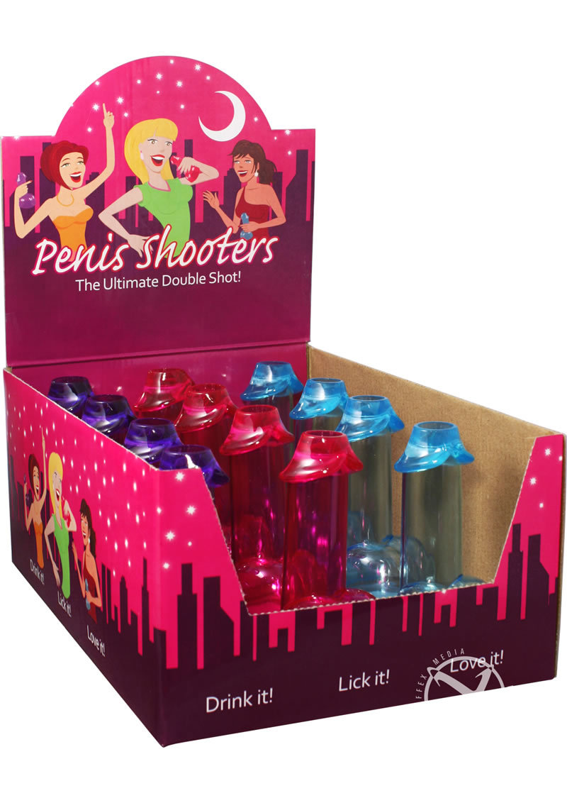 Penis Shooters Double Shot Glasses Assorted Colors 12 Each Per Display